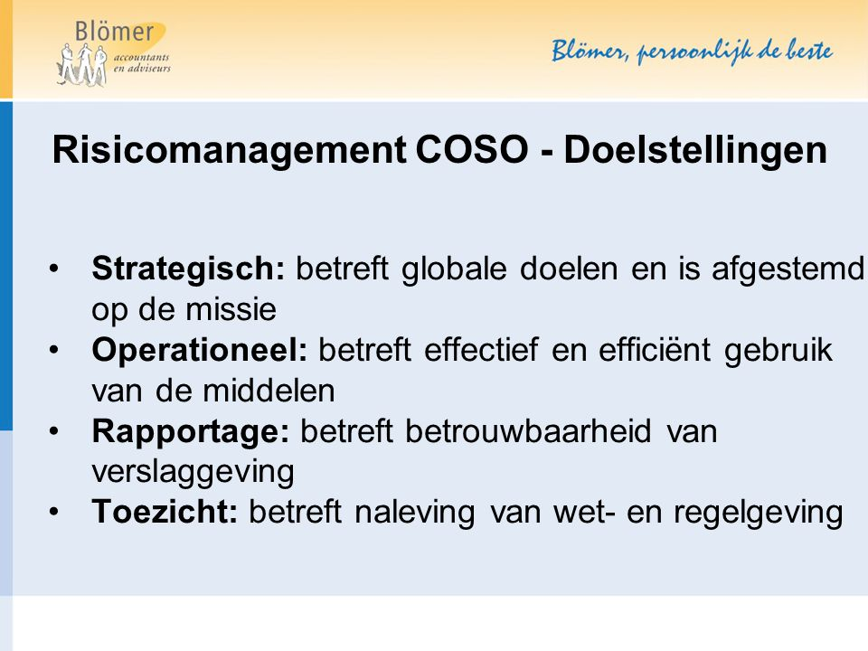 Risicomanagement COSO - Doelstellingen