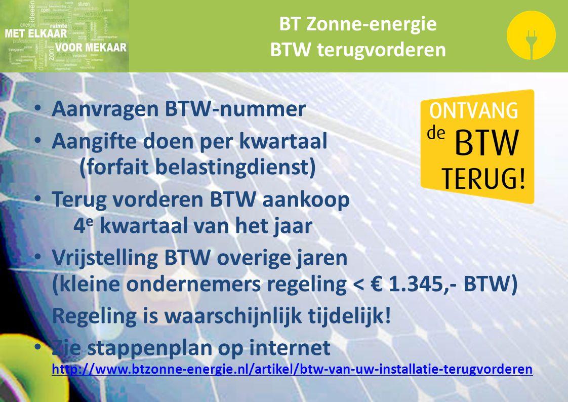 BT Zonne-energie BTW terugvorderen