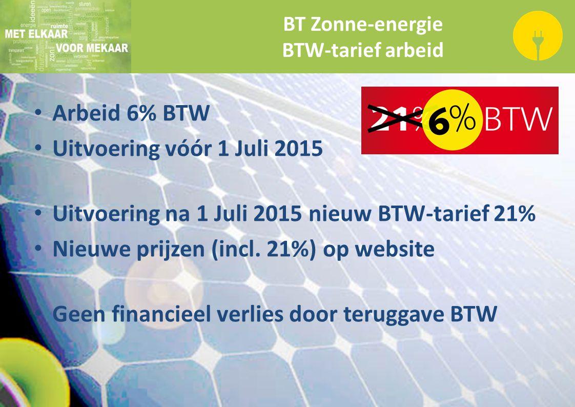 BT Zonne-energie BTW-tarief arbeid