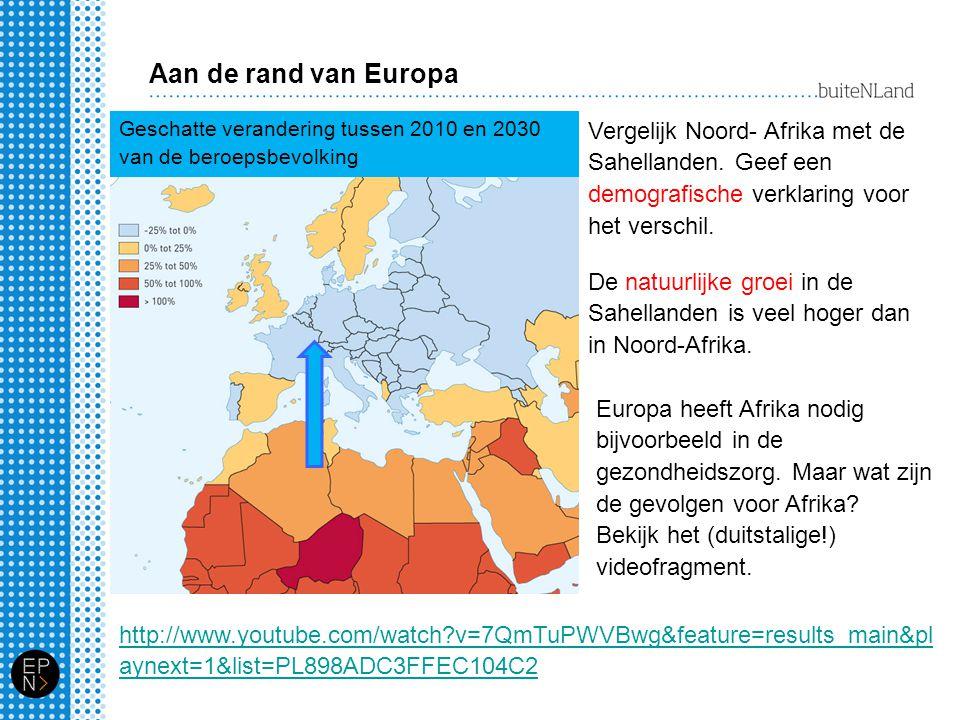 Aan de rand van Europa Geschatte verandering tussen 2010 en 2030 van de beroepsbevolking.