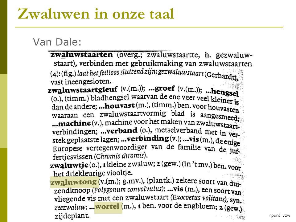 Zwaluwles RLNH vzw Zwaluwen in onze taal Van Dale: