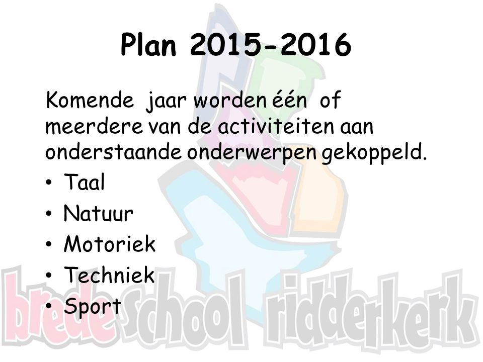Plan 2015-2016 Komende jaar worden één of meerdere van de activiteiten aan onderstaande onderwerpen gekoppeld.