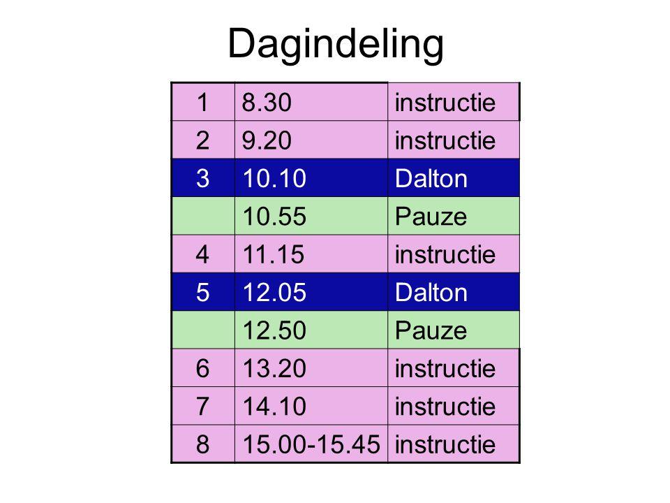 Dagindeling 1 8.30 instructie 2 9.20 3 10.10 Dalton 10.55 Pauze 4