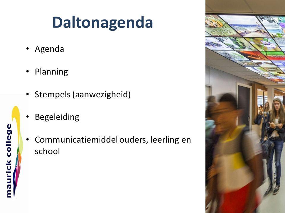 Daltonagenda Agenda Planning Stempels (aanwezigheid) Begeleiding
