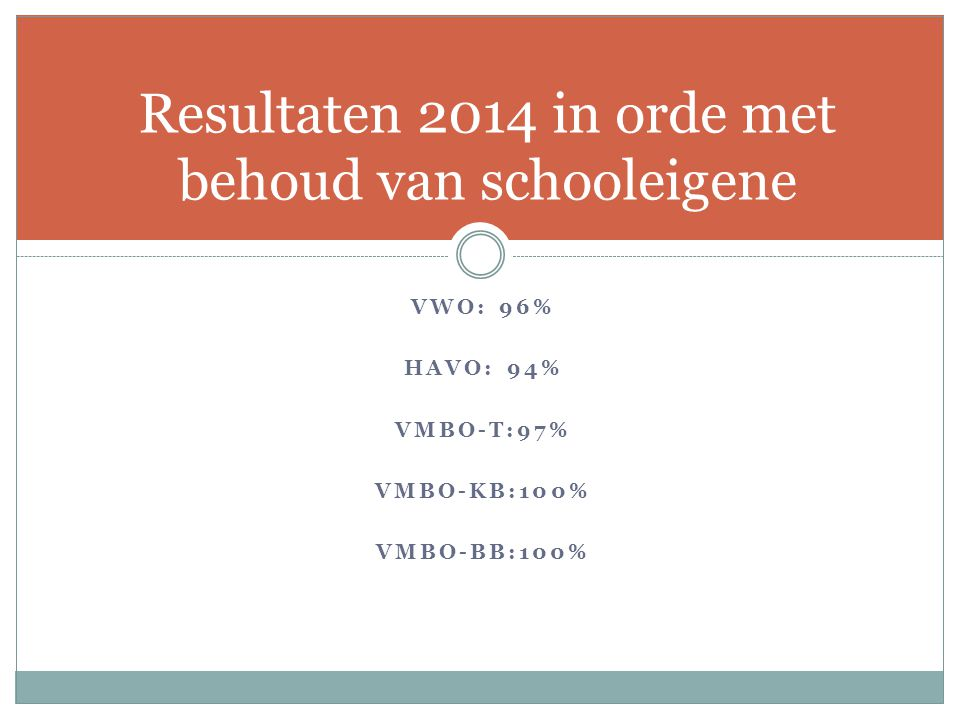 Resultaten 2014 in orde met behoud van schooleigene