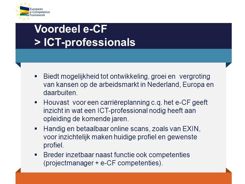 Voordeel e-CF > ICT-professionals