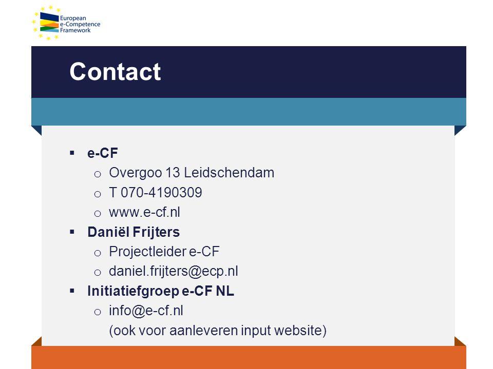 Contact e-CF Overgoo 13 Leidschendam T 070-4190309 www.e-cf.nl
