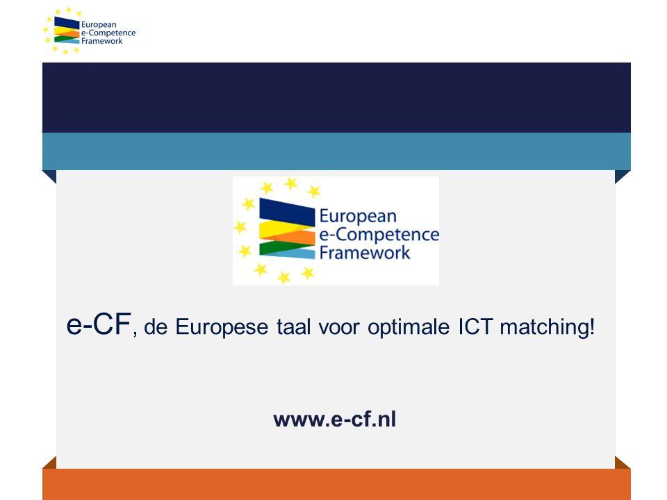 e-CF, de Europese taal voor optimale ICT matching!