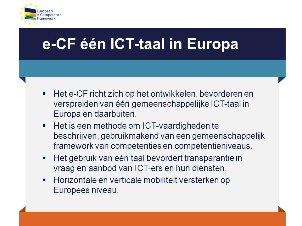 e-CF één ICT-taal in Europa