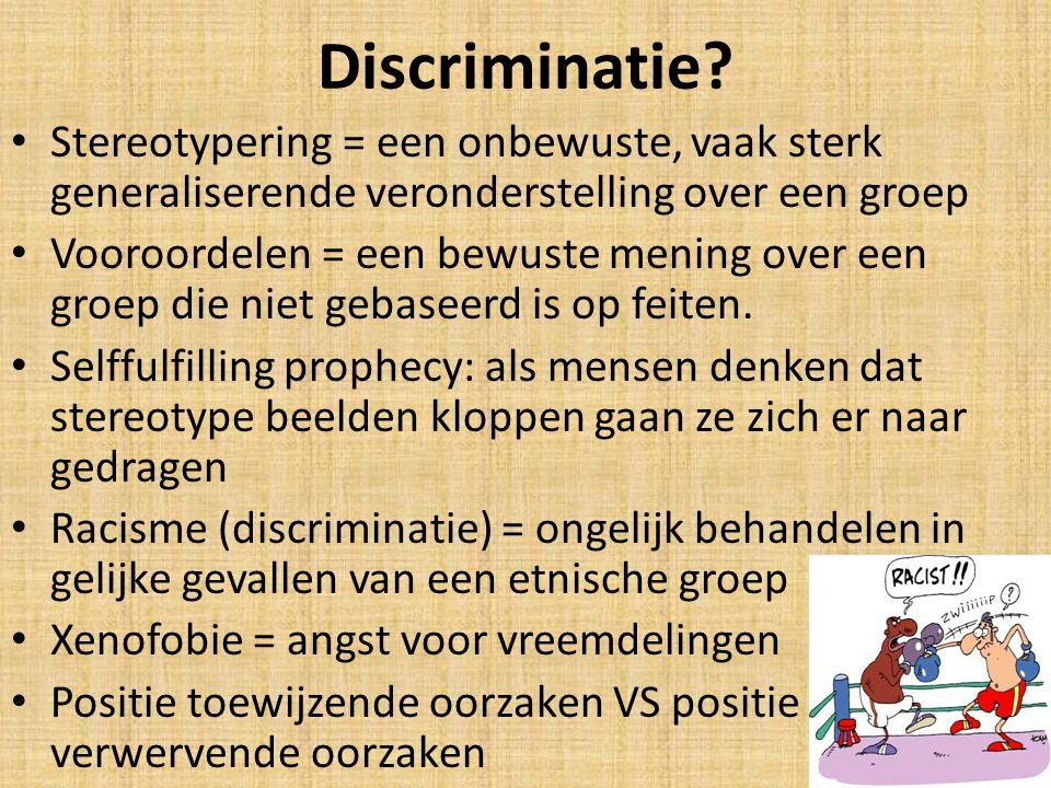 Discriminatie Stereotypering = een onbewuste, vaak sterk generaliserende veronderstelling over een groep.