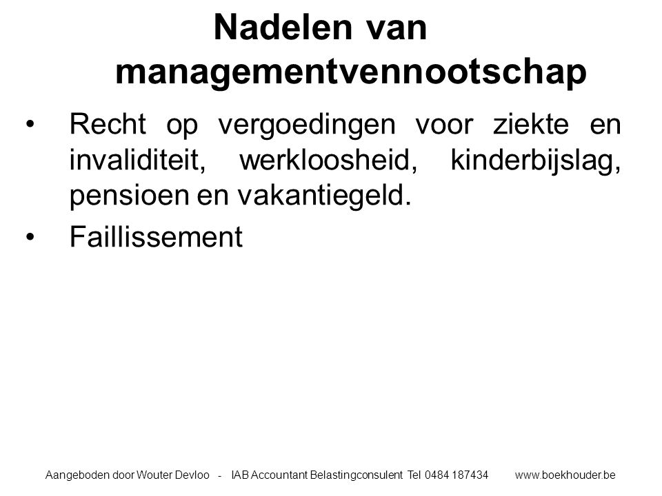 Nadelen van managementvennootschap