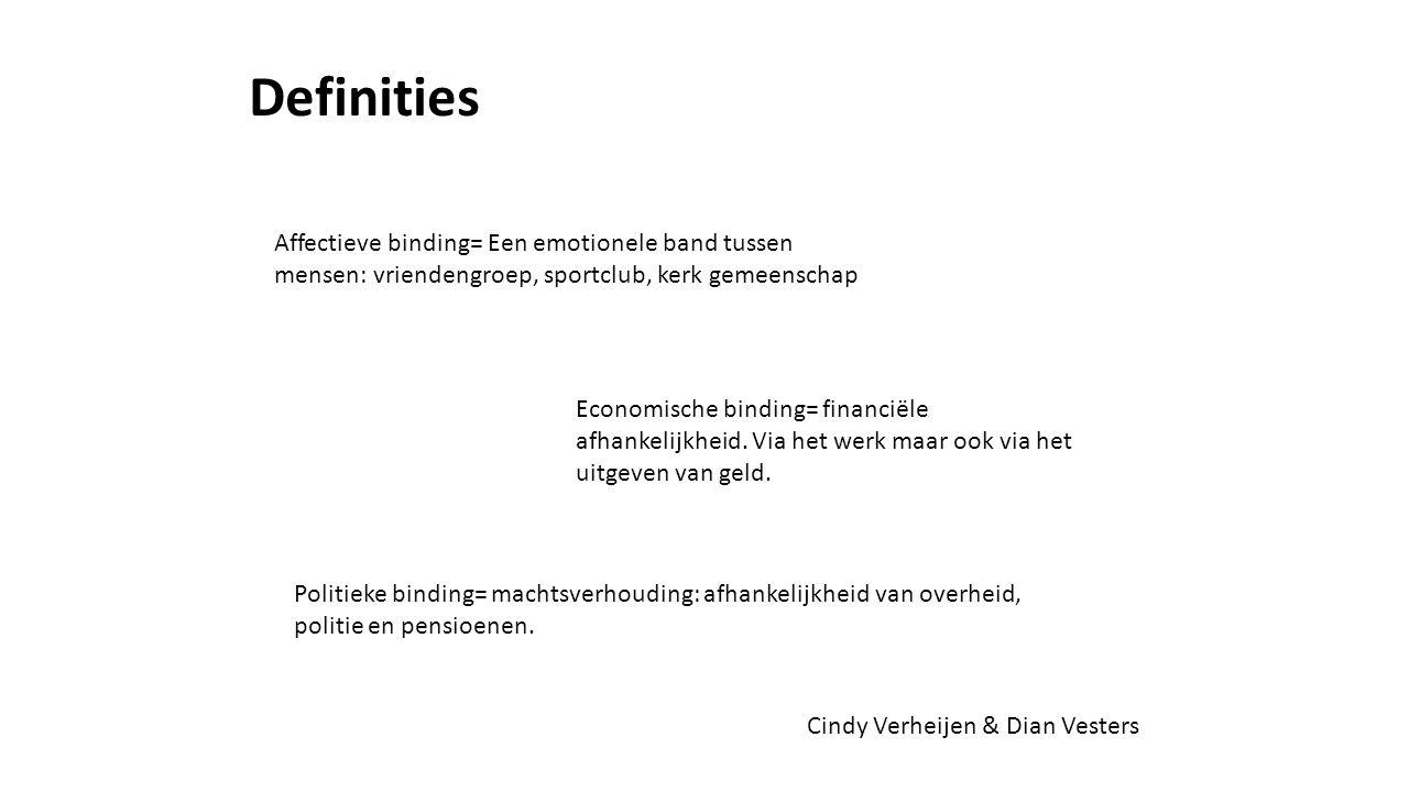 Definities Affectieve binding= Een emotionele band tussen mensen: vriendengroep, sportclub, kerk gemeenschap.