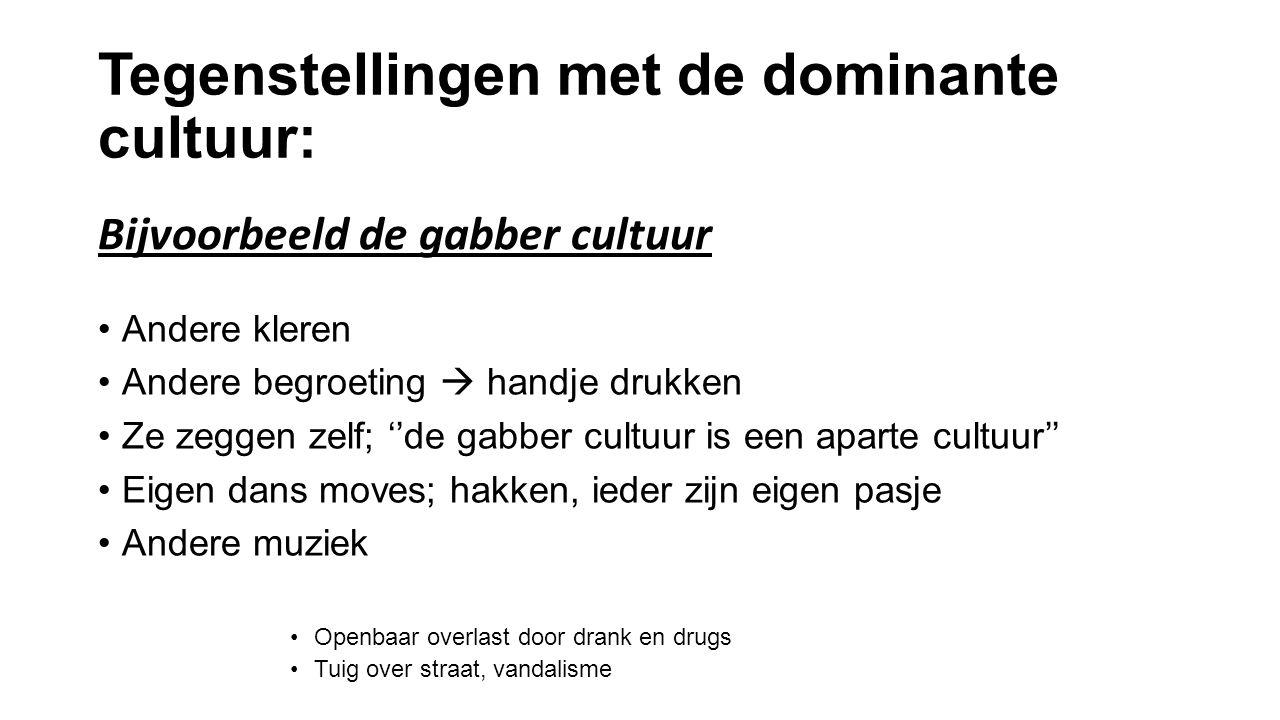 Tegenstellingen met de dominante cultuur: