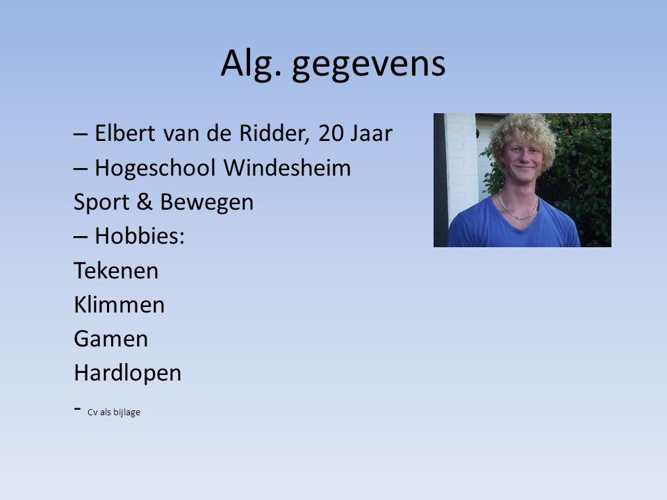 Alg. gegevens Elbert van de Ridder, 20 Jaar Hogeschool Windesheim
