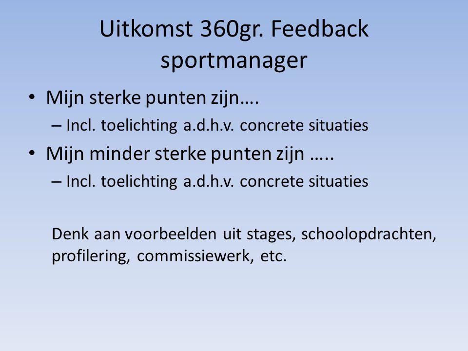 Uitkomst 360gr. Feedback sportmanager