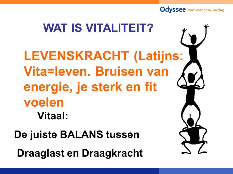 WAT IS VITALITEIT LEVENSKRACHT (Latijns: Vita=leven. Bruisen van energie, je sterk en fit voelen. Vitaal: