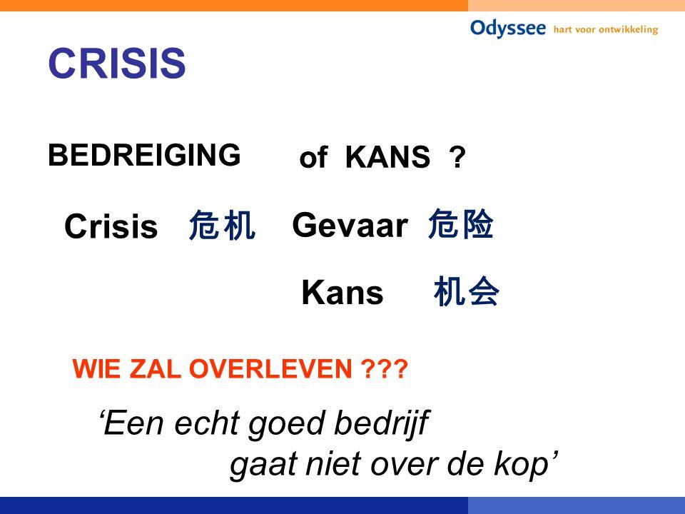 CRISIS of KANS Crisis 危机 Gevaar 危险 Kans 机会 'Een echt goed bedrijf