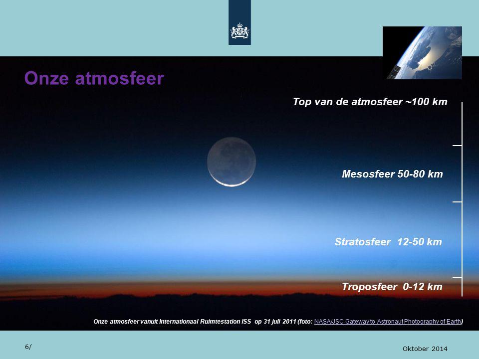 Onze atmosfeer Top van de atmosfeer ~100 km Mesosfeer 50-80 km