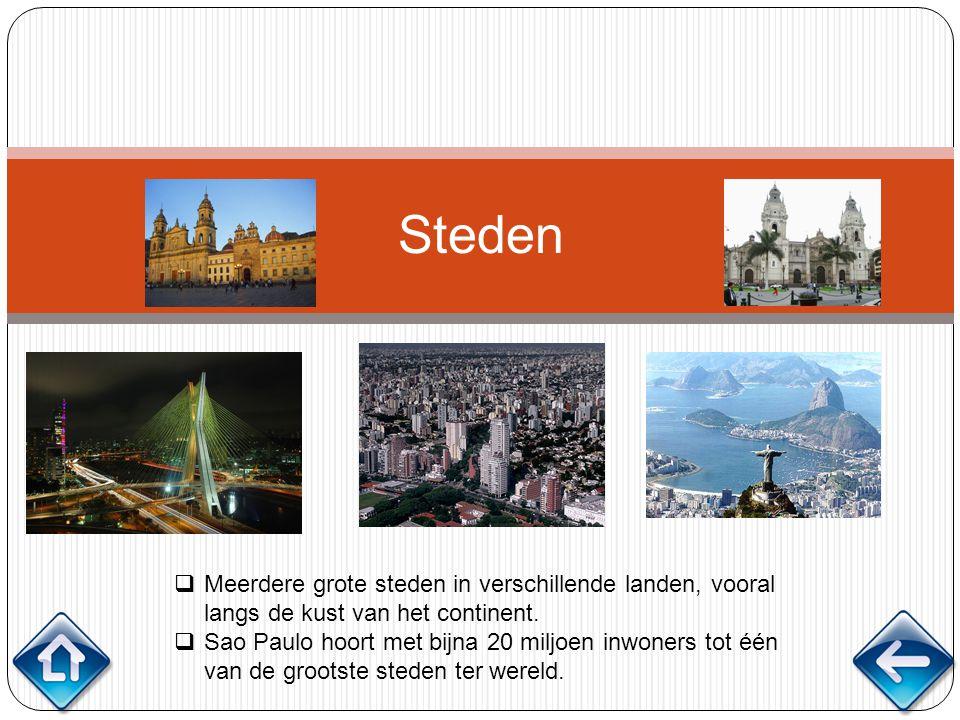 Steden Meerdere grote steden in verschillende landen, vooral langs de kust van het continent.