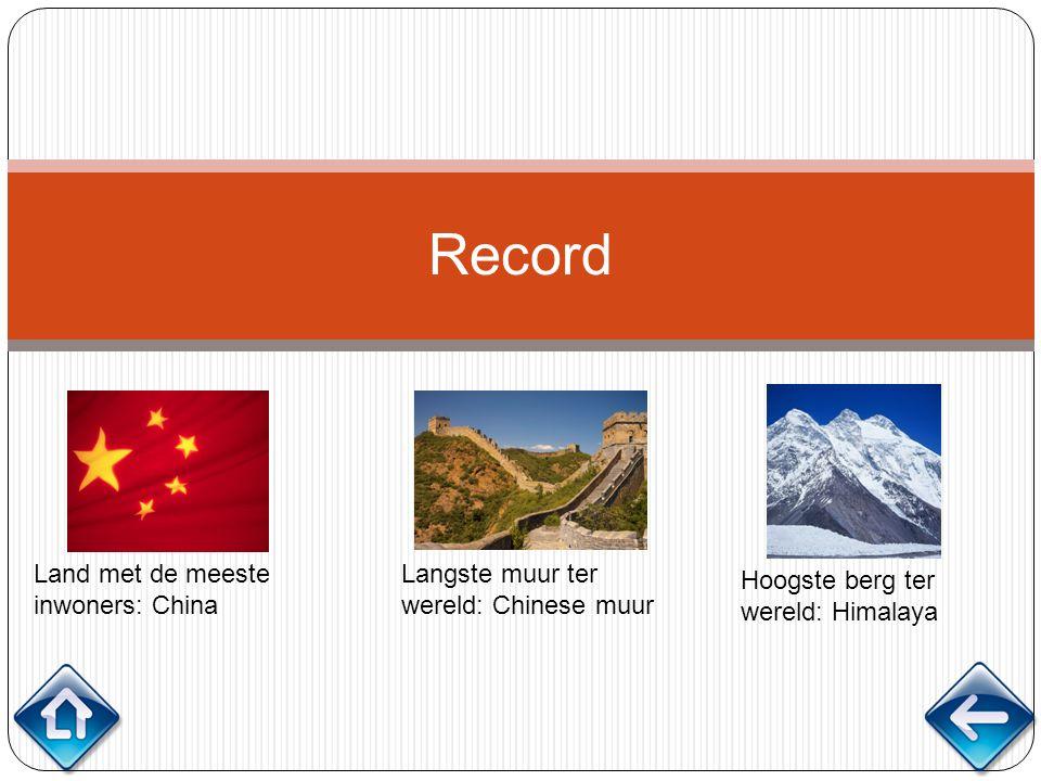 Record Land met de meeste inwoners: China