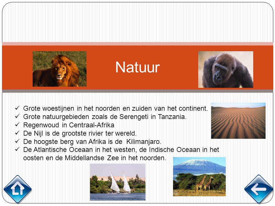 Natuur Grote woestijnen in het noorden en zuiden van het continent.