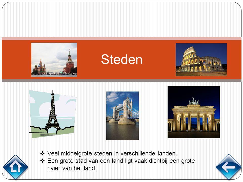 Steden Veel middelgrote steden in verschillende landen.