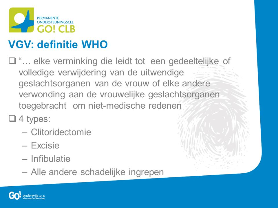 VGV: definitie WHO