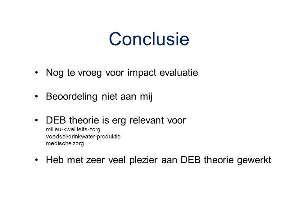Conclusie Nog te vroeg voor impact evaluatie Beoordeling niet aan mij