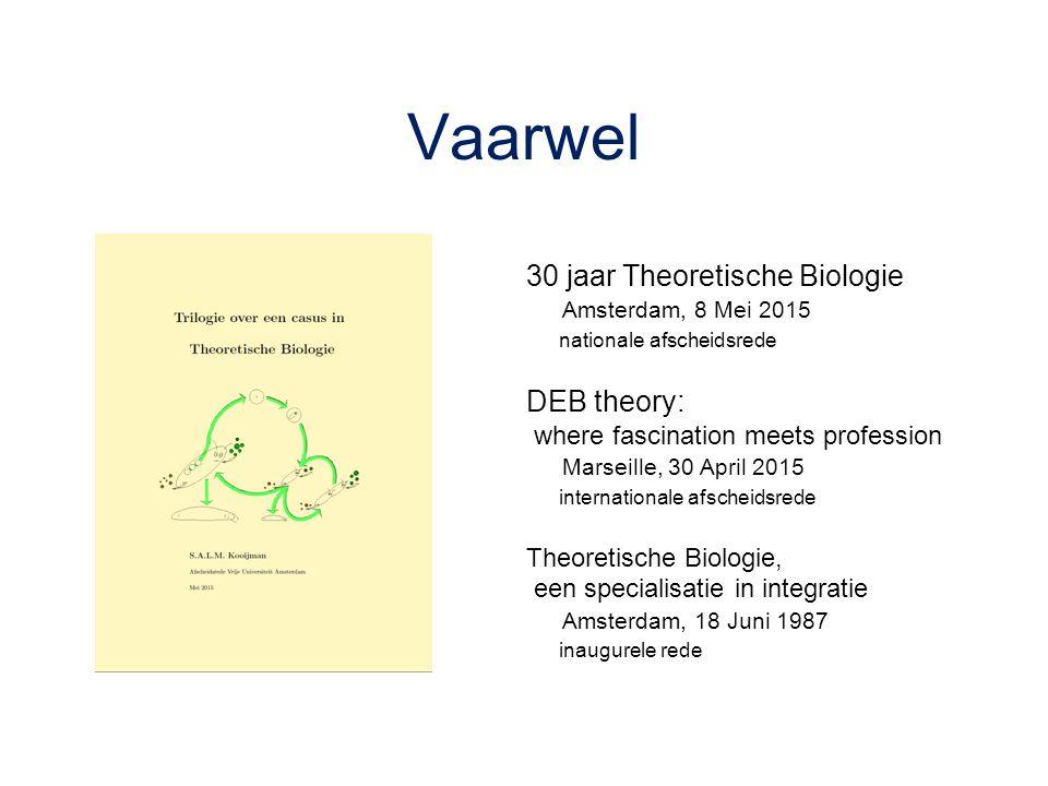 Vaarwel 30 jaar Theoretische Biologie DEB theory: