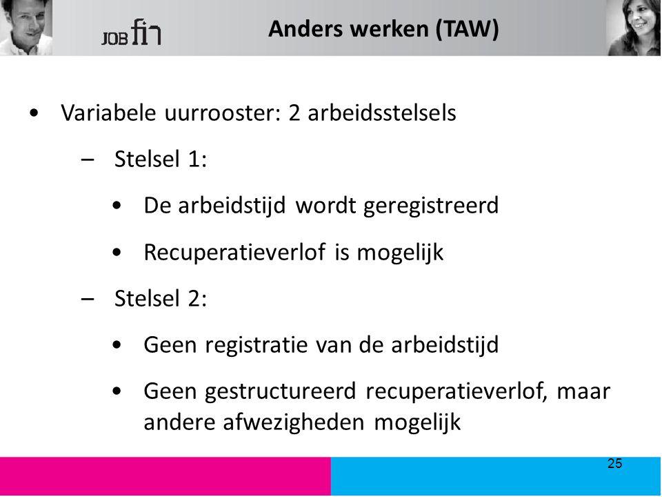 Anders werken (TAW) Variabele uurrooster: 2 arbeidsstelsels. Stelsel 1: De arbeidstijd wordt geregistreerd.