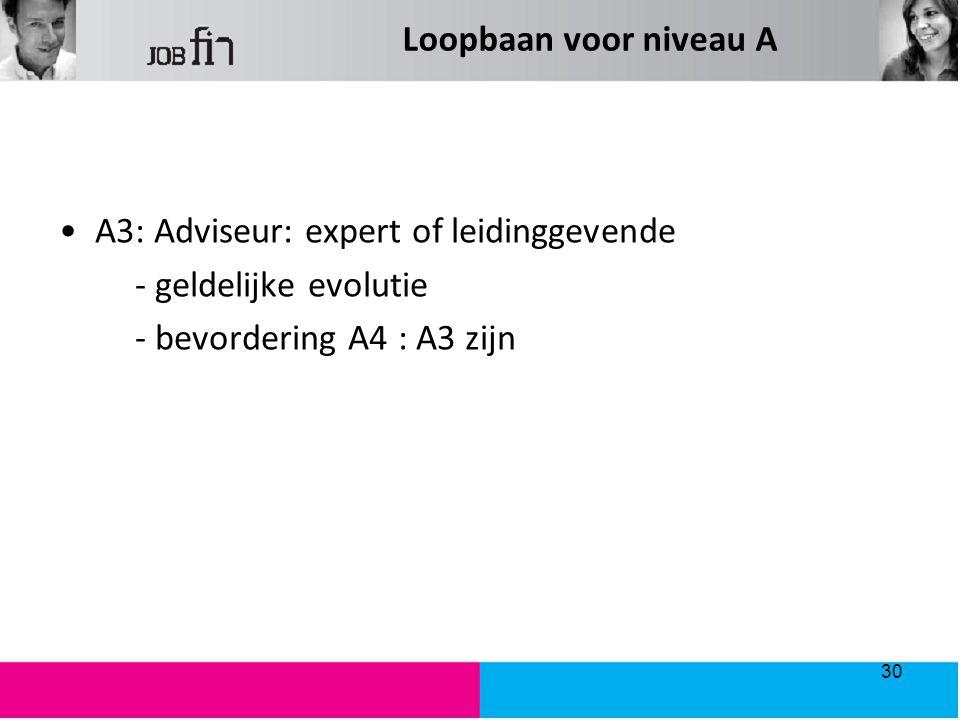 A3: Adviseur: expert of leidinggevende - geldelijke evolutie