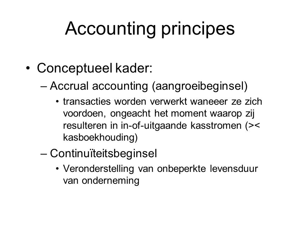 Accounting principes Conceptueel kader: