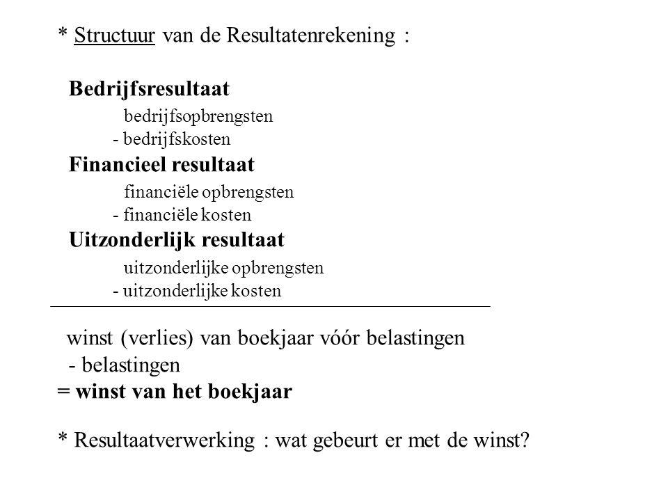 * Structuur van de Resultatenrekening : Bedrijfsresultaat