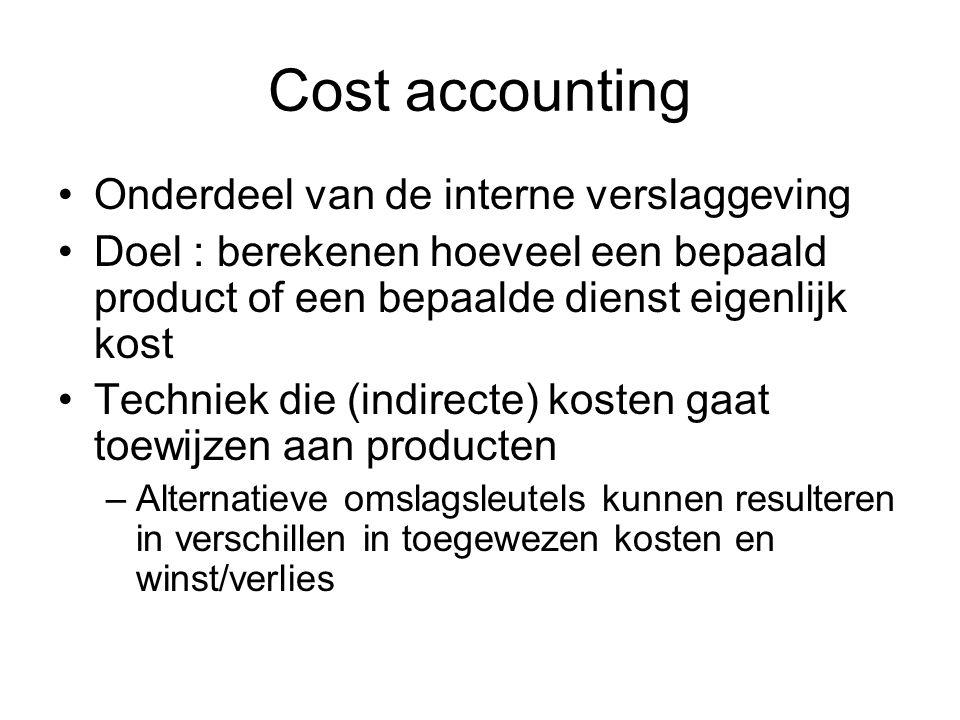 Cost accounting Onderdeel van de interne verslaggeving