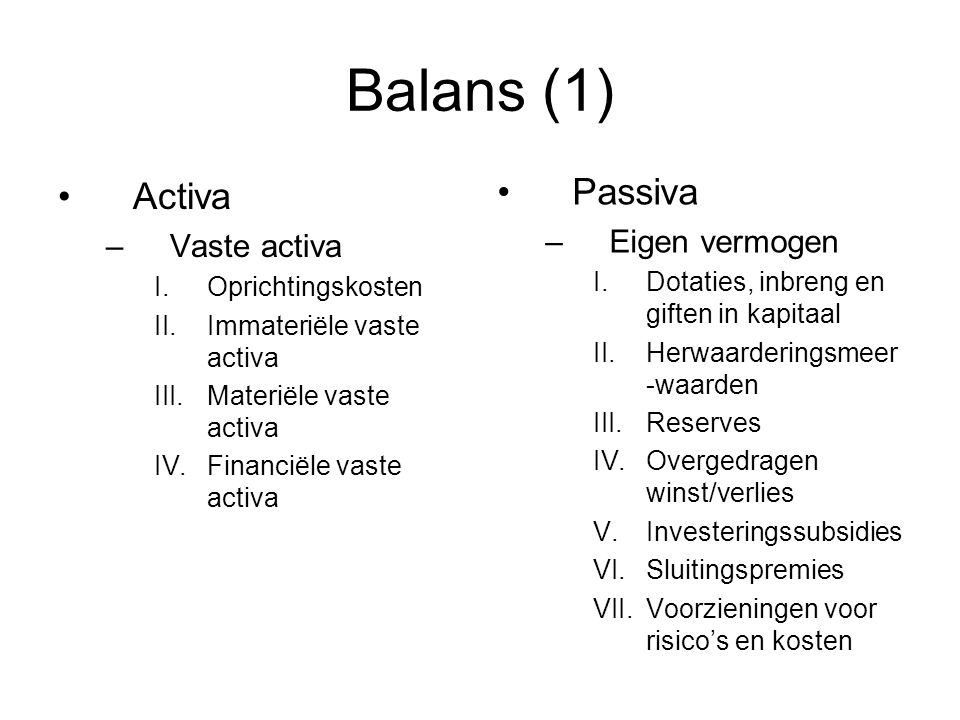 Balans (1) Passiva Activa Eigen vermogen Vaste activa