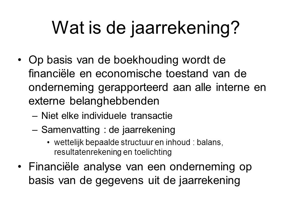 Wat is de jaarrekening