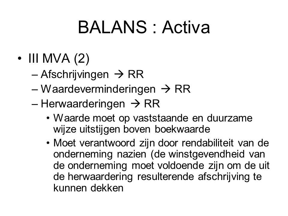 BALANS : Activa III MVA (2) Afschrijvingen  RR