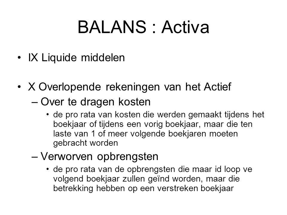 BALANS : Activa IX Liquide middelen