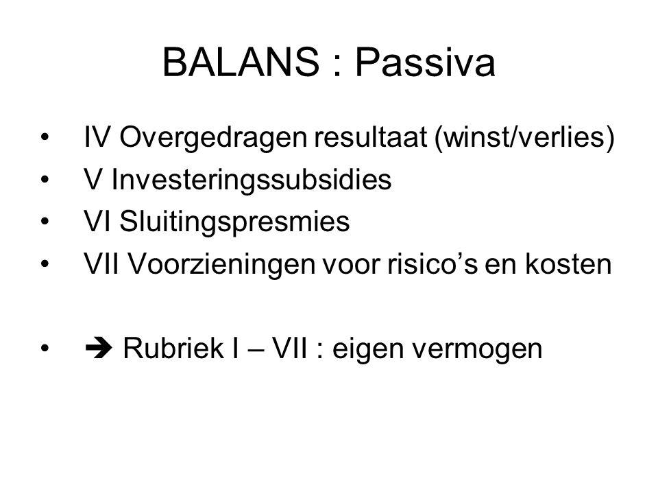 BALANS : Passiva IV Overgedragen resultaat (winst/verlies)