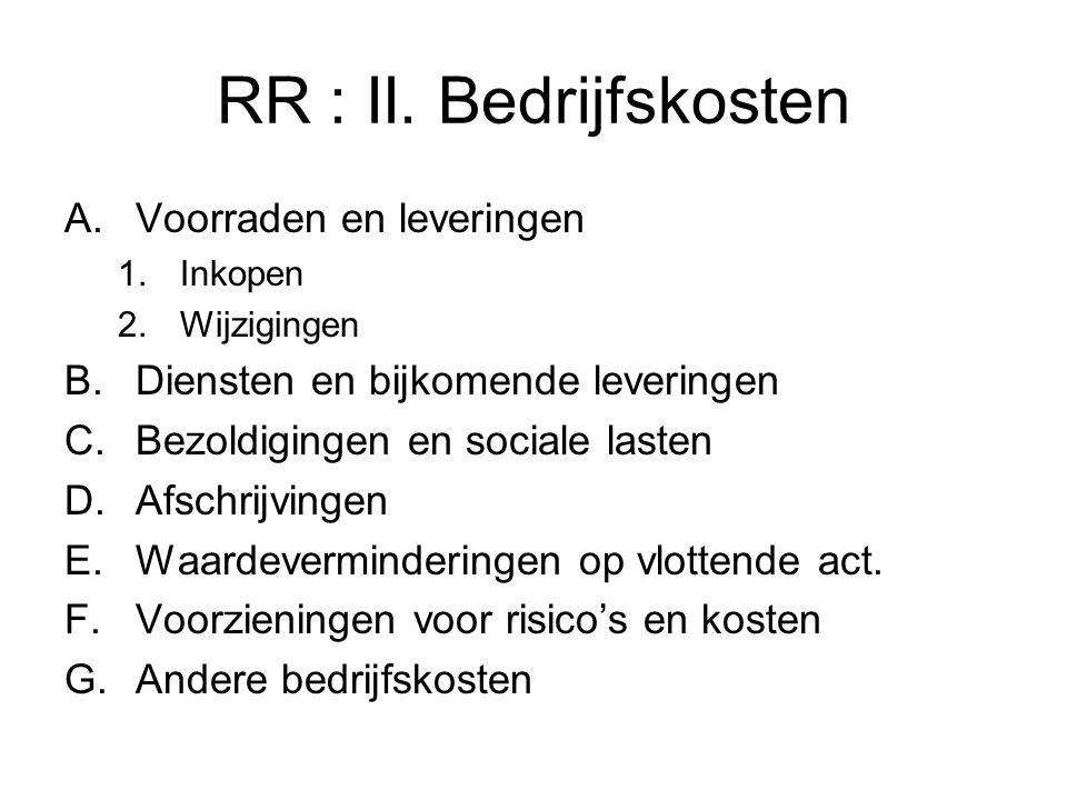 RR : II. Bedrijfskosten Voorraden en leveringen