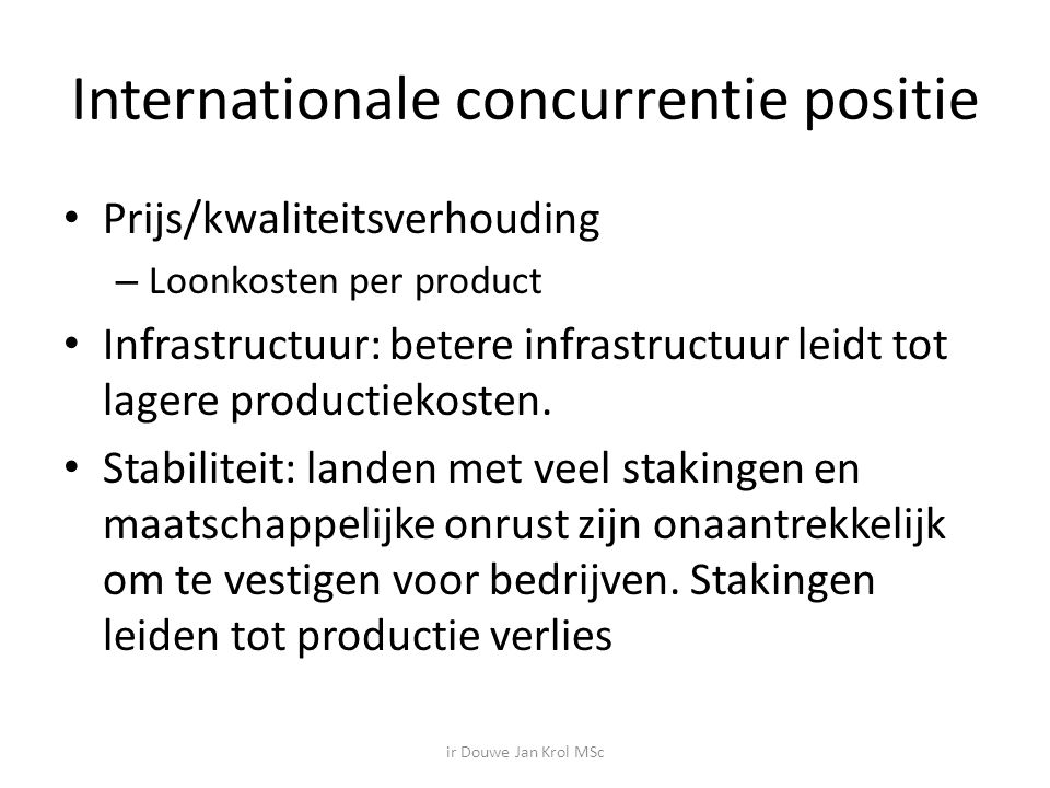 Internationale concurrentie positie