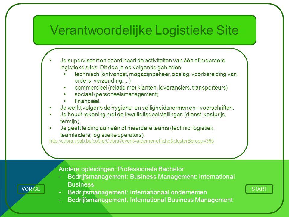Verantwoordelijke Logistieke Site