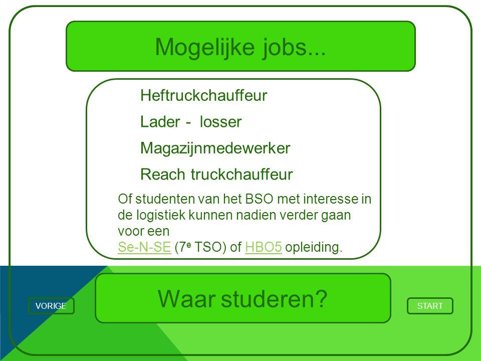 Mogelijke jobs... Waar studeren Heftruckchauffeur Lader - losser
