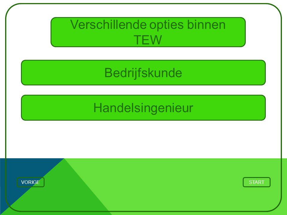Verschillende opties binnen TEW