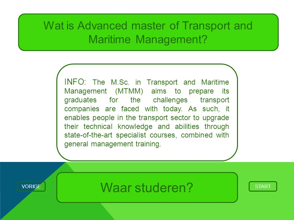 Wat is Advanced master of Transport and Maritime Management