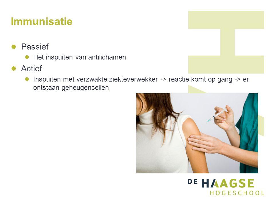 Immunisatie Passief Actief Het inspuiten van antilichamen.