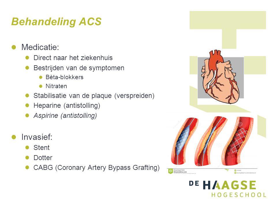 Behandeling ACS Medicatie: Invasief: Direct naar het ziekenhuis