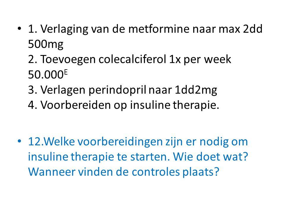 1. Verlaging van de metformine naar max 2dd 500mg 2