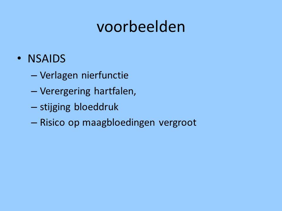 voorbeelden NSAIDS Verlagen nierfunctie Verergering hartfalen,