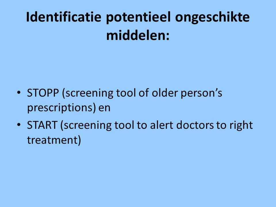 Identificatie potentieel ongeschikte middelen: